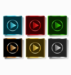 Colorful play button vector