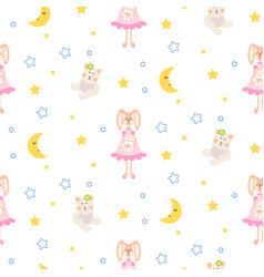 Pajamas pattern with tilda bunny bear plush toy vector