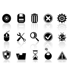 Black software icons set vector