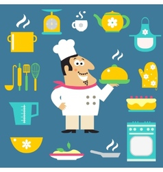 Restaurant chef and kitchen items vector