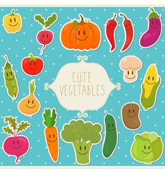 Frame cute vegetables healthy food vector