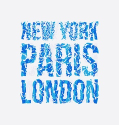 Capital new york paris london typography t-shirt vector