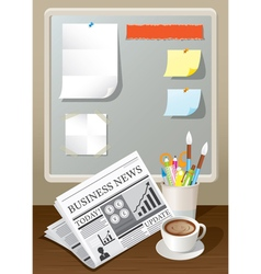 Newspaper coffee cup and stationery vector