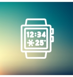 Trendy smart watch thin line icon vector