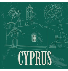 Cyprus landmarks Retro styled image vector image