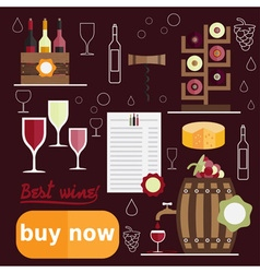 Flat design of wine theme vector