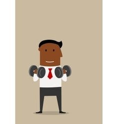 Businessman with dumbbells in fitness gym vector