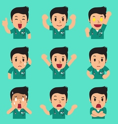 Cartoon male nurse faces showing different vector