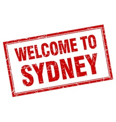 Sydney red square grunge welcome isolated stamp vector