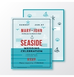 Sea side wedding invitation card or ticket vector
