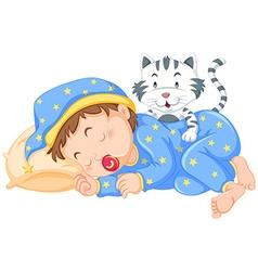 Boy sleeping with little cat vector