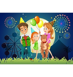 A family celebrating outdoor near the carnival vector image vector image
