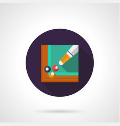 billiards tournament flat round icon vector image vector image