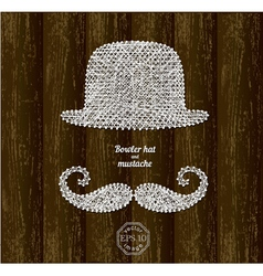 Bowler hat and mustache vector