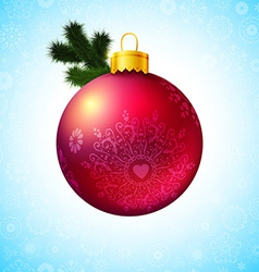 Bright christmas ball and fir tree branch vector
