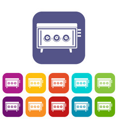 Cd changer icons set flat vector