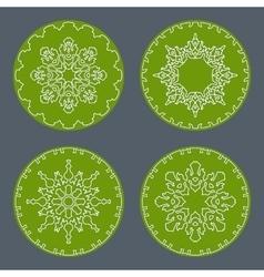 Christmas snowflake icon set thin line signs vector