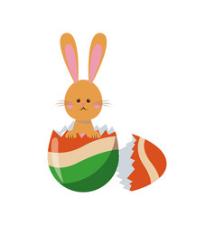 Cute easter bunny broken egg adorable design vector