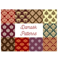 Damask floral ornament seamless pattern set vector image vector image
