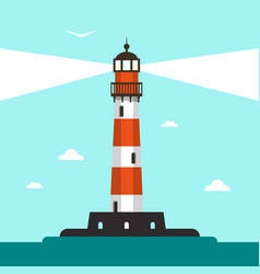 flat design lighthouse with sea and blue sky vector image vector image