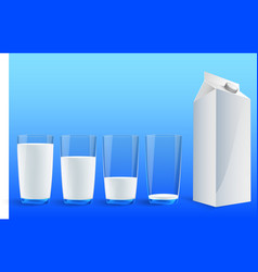 four glasses of milk vector image
