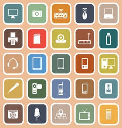 Gadget flat icons on orange background vector