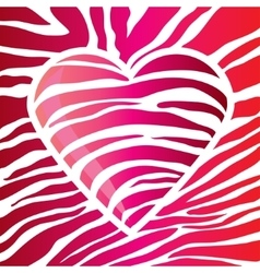 glossy red heart decorated with glare strips vector image vector image
