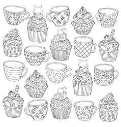hand drawn cup cupcake for vector image