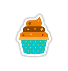 In paper sticker style cupcake vector