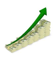 Money banknotes stacks rising graph vector