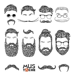 Mustache beard and hair style set hipster vector