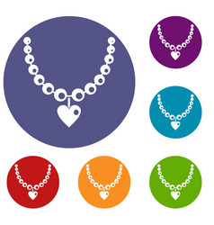 Necklace icons set vector