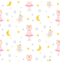 pajamas pattern with tilda bunny bear plush toy vector image vector image