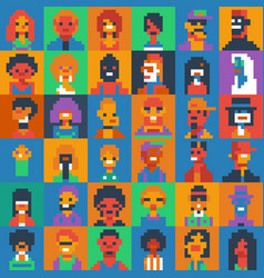 Pixel art people characters set various ages and vector
