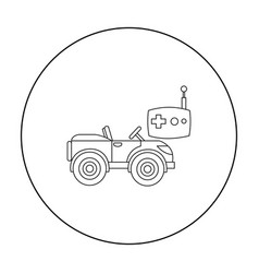 Rc car icon in outline style isolated on white vector