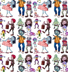 Seamless background with many zombies vector