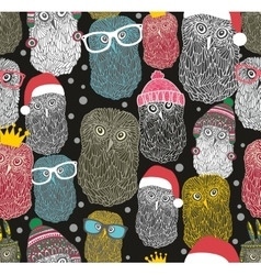 Seamless pattern with party of owls vector
