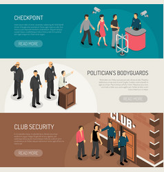 security isometric banners set vector image vector image