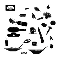 Set of black silhouettes of food and kitchen vector image
