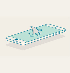 shark fin above smartphone vector image vector image