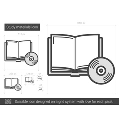 Study materials line icon vector