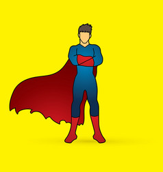Super hero man standing arms across the chest vector