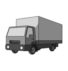 Truck with awningcar single icon in monochrome vector