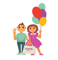 Two children with balloons pack of toys and ice vector