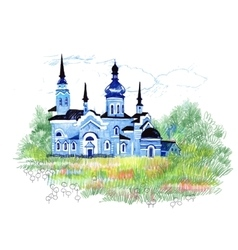 Hand drawn blue church in the field vector