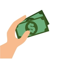 hand with bill money graphic vector image