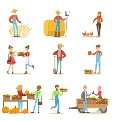 Farmers men and women working at the farm and vector