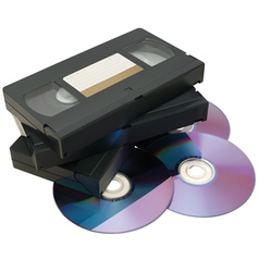 VHS tape and DVD vector image