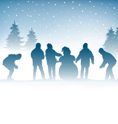 Winter and children vector image