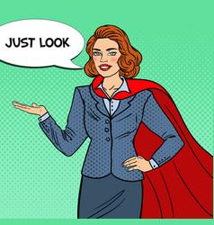 Pop art smiling super businesswoman in red cape vector